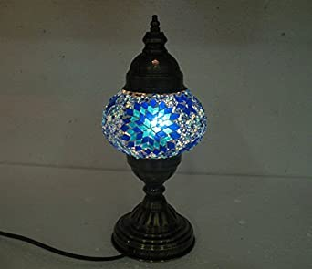 Exceptional Blue Mosaic Glass Table Lamp Handmade Candle Holder Light 206