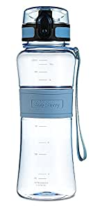 Swig Savvy 18oz Tritan Water Bottle Eco Friendly & BPA-Free Plastic ,Leak Free One-Click Flip Top open Ideal For Sports Yoga, Camping, Biking, & Jogging, (Blue)