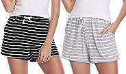 Hawiton 1 & 2 PCS Women Striped Cotton Sleeping Pajama Bottoms Exercise Fitness Sh