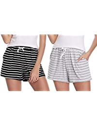 9939a9f6c 1   2 PCS Women Striped Cotton Sleeping Pajama Bottoms Exercise Fitness  Shorts