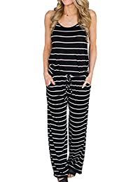 Women's Comfy Striped One Piece Jumpsuit Loose Sleeveless...