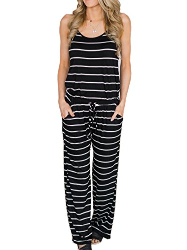 Famulily Women's Comfy Striped One Piece Jumpsuit Loose Sleeveless Wide Leg Long Pants Romper(2XL,Black)