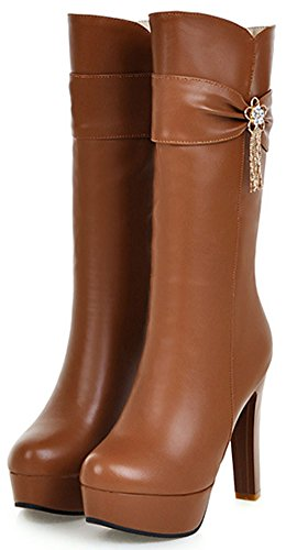Sexy Easemax Boots Platform Up Mid High Calf Round Brown Heel Toe Chunky With Women's Zip rwSUx5RPrq