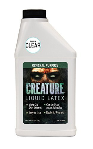 Creature Liquid Latex - CLEAR - General Purpose Professional Special Effects Liquid Latex - 16oz - Dries CLEAR ()