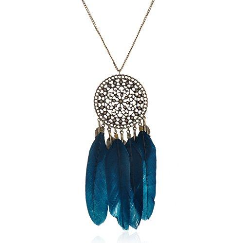 lureme Women's Vintage Native American Dream Catcher Feather Pendant Necklace 27.5'-Blue(01003985-2)