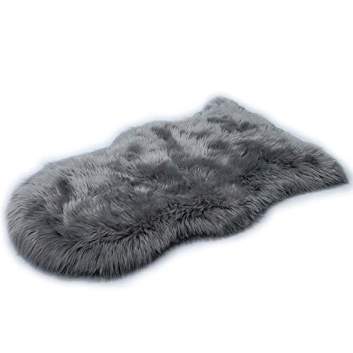 HLZHOU Faux Fur Soft Fluffy Single Sheepskin Style Rug Chair Cover Seat Pad Shaggy Area Rugs For Bedroom Sofa Floor (2x3Feet, Gray)