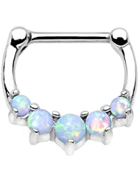 Body Candy Stainless Steel Barbell White Synthetic Opal Quintet Septum Clicker 16 Gauge 5/16""