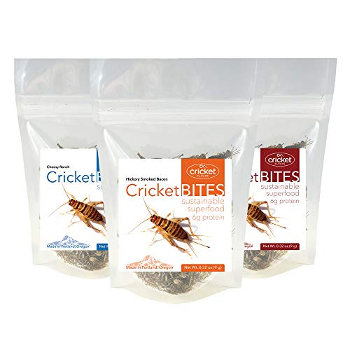 Cricket Bites Gift 3-Pack of Assorted Flavors (North American Crickets - Made in Portland, Oregon) by Cricket Flours -