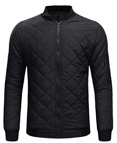 TTYLLMAO Warm Down Quilted Coat Custom Padded Jacket Fashion Fit Mens Black Zipper r5X8wr