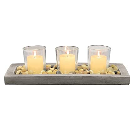 Briarwood Decorative Votive Tray With Rustic Cement Natural Pebbles And 3 Clear Glass