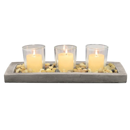 Briarwood Decorative Votive Tray with Rustic Cement Tray, Natural Pebbles, and 3 Clear Glass Votive Candle Holders, Unique Centerpiece for the Coffee Table, Dining Table, or Any Table Top