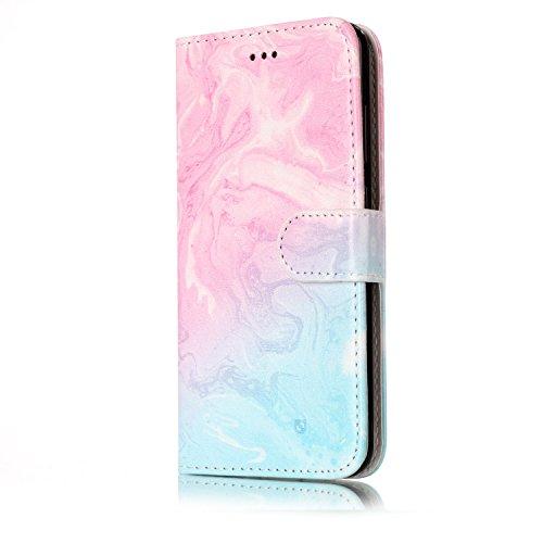 Funda Huawei P10 Lite, SsHhUu PU Piel Genuino Carcasa en Folio [Patrón de Mármol] [Ranuras para Tarjetas] [Cierre Magnetico] con Lápiz óptico + Acollador para Huawei P10 Lite (5.2) Mariposa Chimes Rosado Azul