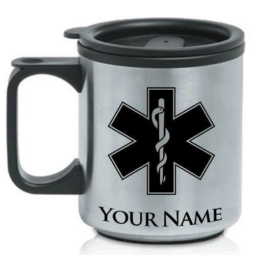 Personalized Coffee Travel Mug - STAR OF LIFE - Custom Engraved for Free (Paramedic Coffee Mug)