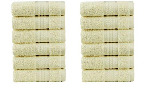 Cotton Craft Ultra Soft 12 Pack Wash Cloths 12x12 Ivory weig