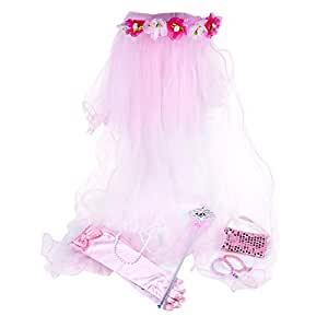 SmitCo LLC Little Girl Dress Up Accessories, For Kids and Toddlers, Pink Toy Gift Set Includes Flower Veil, Gloves, Bracelets, Beads, Wand And Purse In Either Pink, Purple Or White For Hours Of Fun