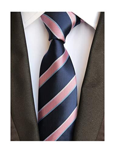 (Secdtie Men's Classic Stripe Jacquard Woven Silk Tie Formal Party Suit Necktie (One Size, Pink Navy) )