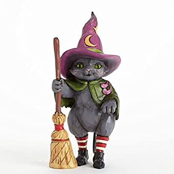 Jim Shore for Enesco Heartwood Creek Witch Cat with Broom Figurine, 6.25-Inch