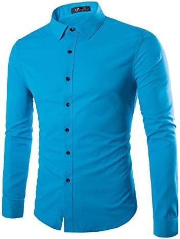 nvunskd Men s Long Sleeve Shirt, Fashion Color sólido Camisa ...