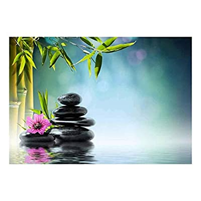 Rocks and a Pink Flower on a Lake Next to Bamboo Branches - Wall Mural, Removable Sticker, Home Decor - 66x96 inches