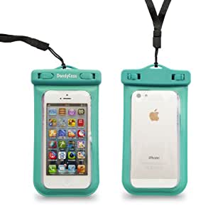 Dandycase SLIM Waterproof Case for Apple iPhone 5S / 5 / 5C & Apple iPod Touch 5 (Will NOT fit other smartphones) - IPX8 Certified to 100 Feet [Retail Packaging by DandyCase] (Turquoise)