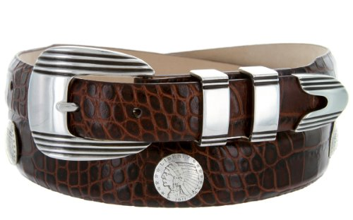 Italian Calfskin Leather Belt with Designer Buckle and Indian Head Coin Conchos (44, Alligator Brown)