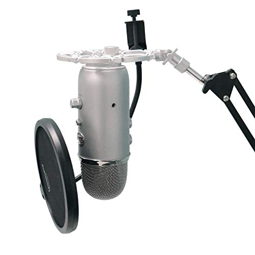 Silver Shock Mount For Blue Yeti and Blue Snowball Mics Eliminates Noises From External Vibration (Blue Ringer)