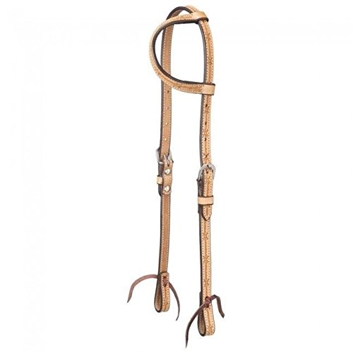 Headstall Barbed Wire (Tough-1 Leather Single Ear Headstall w/ Barbed Wire Detail Horse Tack 42-1415)