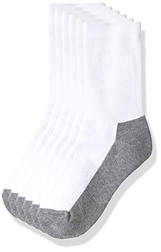 - Sof Sole All Sport Crew Athletic Performance Socks, White/Grey, Youth 10-4.5, 6-Pack