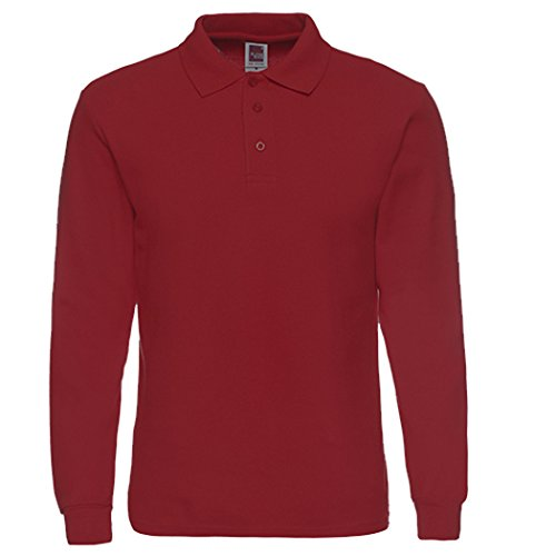 Men's Long Sleeve Casual Solid Golf Polo Shirt,wine red,XL by NeedBo
