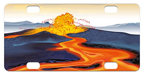 Eruption Natural (Volcano Mini License Plate by Lunarable, Vibrant Graphic Display of Eruption Natural Disaster Molten Hot Lava, High Gloss Aluminum Novelty Plate, 2.94 L x 5.88 W Inches, Cadet Blue Scarlet Yellow)