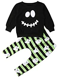Kids Baby Boys Halloween Outfits Eyes T-Shirt Ghost Striped Pants 2pcs Clothes