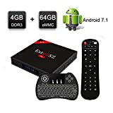 [Android TV Box 4GB 64GB] EstgoSZ H96 Max Version TV Box Android 7.1 RK3328 Support 2.4G/5G Dual Wifi/100M LAN/BT 4.0 /H265/3D 4K Smart Android Box with Wireless Backlight Keyboard