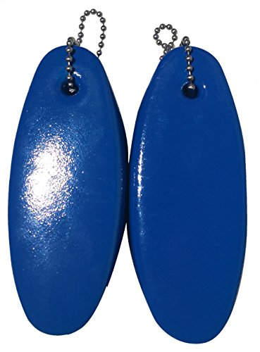 2 Pack JUMBO Vinyl Coated BLUE Floating Keychain key floats -Made in the USA- (Blue)