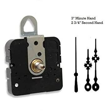 7//16 Threaded Shaft for dials up to 1//4 Thick, E Hands with Black Second Hand USA Made Takane Quartz Clock Movement Mechanism Choose Your Hands and Size