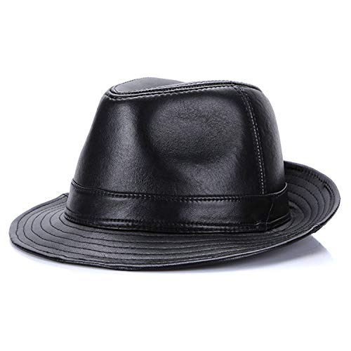 Fedoras Hats Men Leather Trilby Hats Brown Btitish Vintage Jazz Caps Male Patchwork Real Leather Gentleman