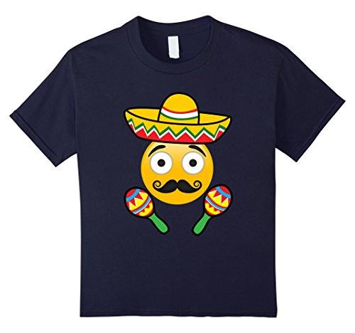 [Kids Emoji Mustache Cinco de Mayo TShirt Girls Kids Women Men 8 Navy] (Cute Female Nerd Costumes)