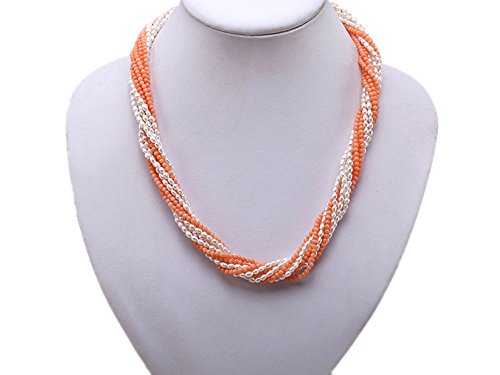 Multi-strand Pink Coral Beads and White Rice-shaped Freshwater Pearl (White Rice Freshwater Pearl Beads)