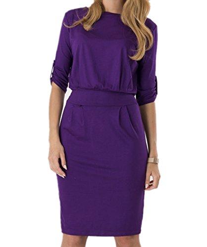 Length Women Sleeve Purple Frock Pencil Loose Dress Knee Tueenhuge 3 Dress 4 FOqnw4qg6