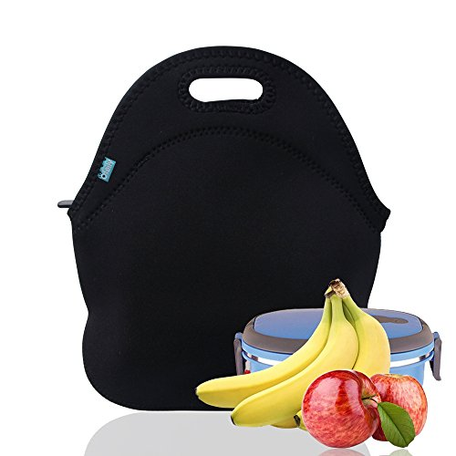 Lunch Tote, OFEILY Lunch boxes Lunch bags with Fine Neoprene Material Waterproof Picnic Lunch Bag Mom Bag (Black) by Ofeily