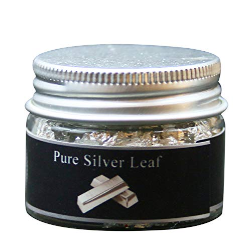 (Edible Genuine Silver Leaf Flakes, 100mg Pure Silver Flakes Facial Mask Decorative Dishes,Genuine Silver Leaf for Cooking, Cakes & Chocolates, Decoration)