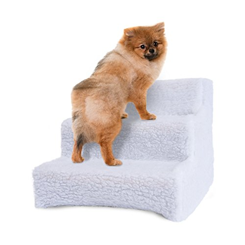 Ideas In Life Pet Stairs Ramp for Small Dogs - Doggy Steps for Beds Used as a 3 Step Wood Dog Ladder for Couch or Bed