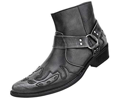 Tip Boot Boots Cowboy (Amali Men's Embellished Wing Tip Designer High Rise Boot with Inside Zipper, Style Rancho Grey)