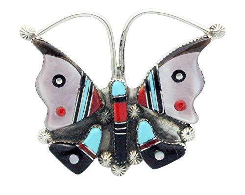 - Elvira Kiyite, Pin, Pendant, Butterfly, Multi Stone, Inlay, Zuni Handmade