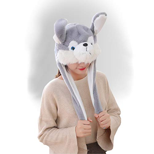 (Puppy Husky Hat Dog Cap Animal with Airbag Ear Movable Funny Party Birthday Gift)