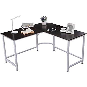 """TOPSKY Computer Desk 55"""" x 55"""" with 24"""" Deep L-Shaped Desk Corner Workstation Bevel Edge Design(WALNUT)"""