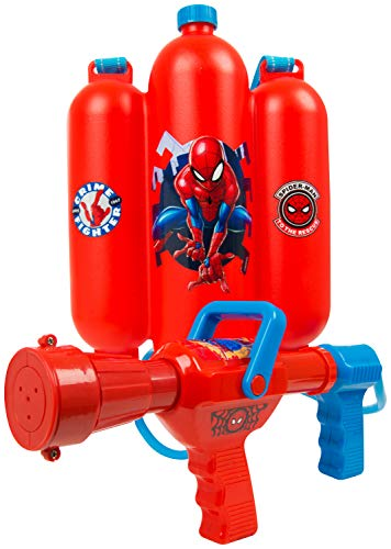 Spider Man Water Gun - Sambro Spiderman Blaster Backpack, Gun for Kids-Water Shooter with Tank, Perfect Outdoor Summer Toy for Pool and Beach Days, Multicolour