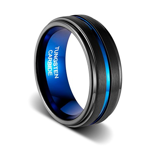TUSEN JEWELRY Wedding Band 8mm Matte Finish Thin Blue Line Plated Groove Step Edge Tungsten Ring Size:8.5 8 Mm Line Finish