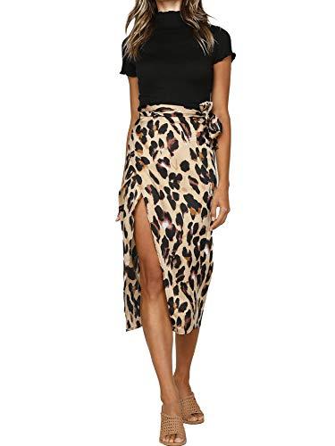 HUILAN Women's Leopard Knotted High Waist Wrap Split Skirt 1-Multi L