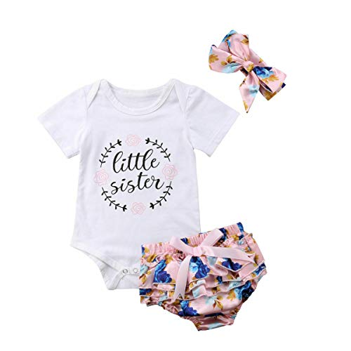 Bloomers Terry - 0-18M Little Sister Newborn Girl Short Sleeve 100% Cotton Bodysuit Tops Tutu Flower Baby Bloomers Shorts Headpiece 3PCS Clothes Full Celestial Satellite Gift