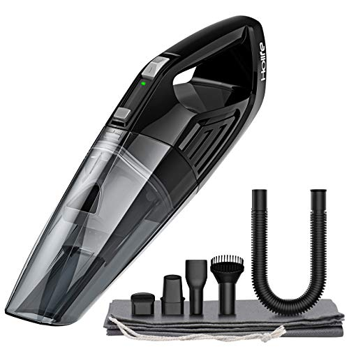HoLife Hand Vacuum, Car Vacuum Cleaner Rechargeable 7.4V Lightweight Portable Handheld Vacuum with Cyclonic Suction, Black